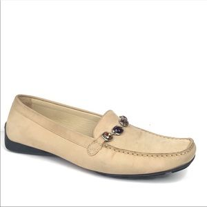 Stuart Weitzman Cream Jeweled Leather Loafer Flats